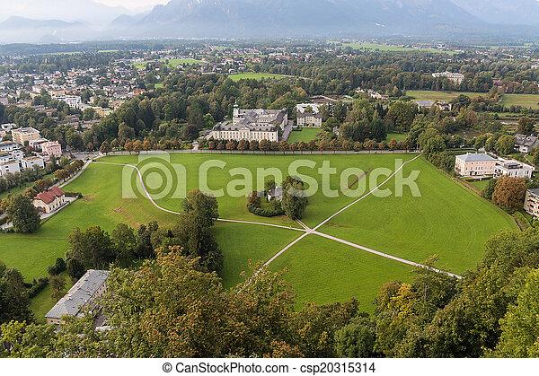 view of the historic city of Salzburg, Salzburger Land, Austria - csp20315314