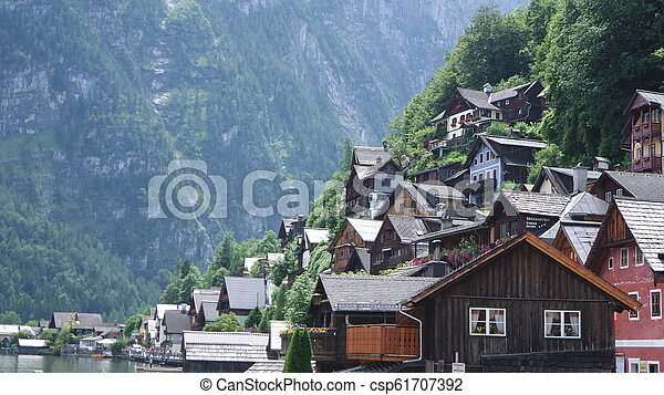 View of the historic town Hallstatt in Austria - csp61707392