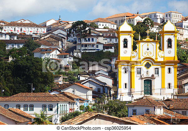 view of the historical town Ouro Preto Brazil  - csp36025954