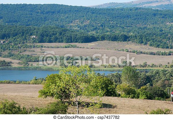 View of the lake in autumn in Bulga - csp7437782