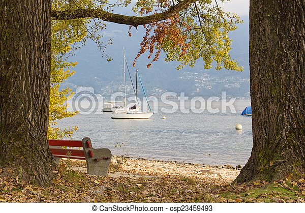 View of the lake in the autumn - csp23459493