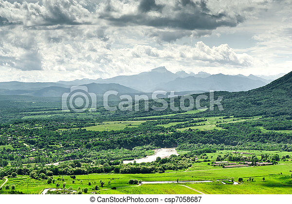 view of the mountains from a bird's eye - csp7058687
