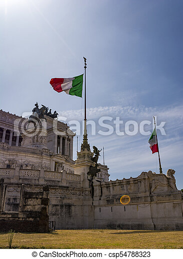 View of the national monument a Vittorio Emanuele II, Piazza Venezia in Rome, Italy - csp54788323
