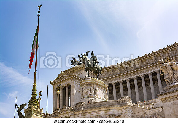 View of the national monument a Vittorio Emanuele II, Piazza Venezia in Rome, Italy - csp54852240
