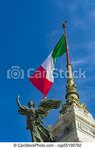 View of the national monument a Vittorio Emanuele II, Piazza Venezia in Rome, Italy - csp55109792