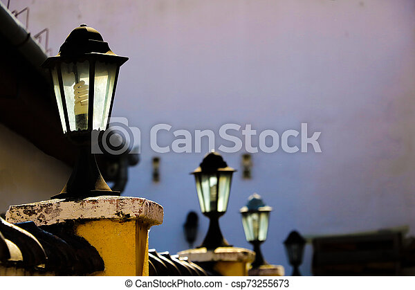 View of the old street lighting in a small town. Selective focus. - csp73255673