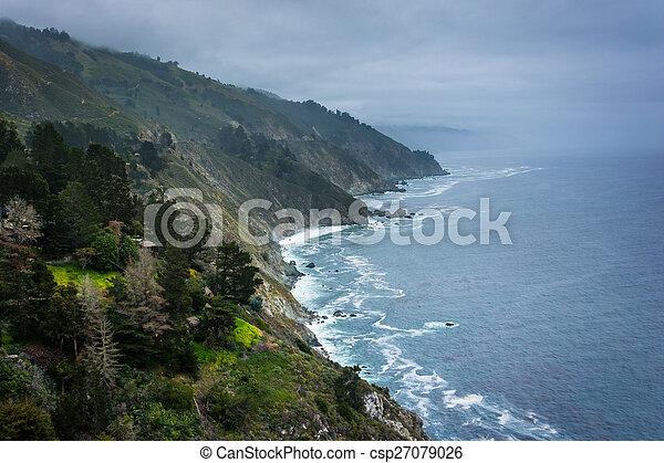 View of the Pacific Coast in Big Sur, California. - csp27079026