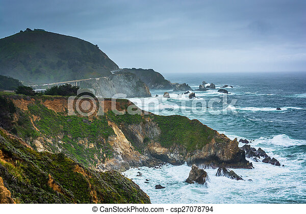 View of the Pacific Coast in Big Sur, California. - csp27078794