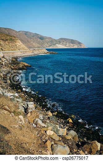 View of the Pacific Coast, in Malibu, California. - csp26775017