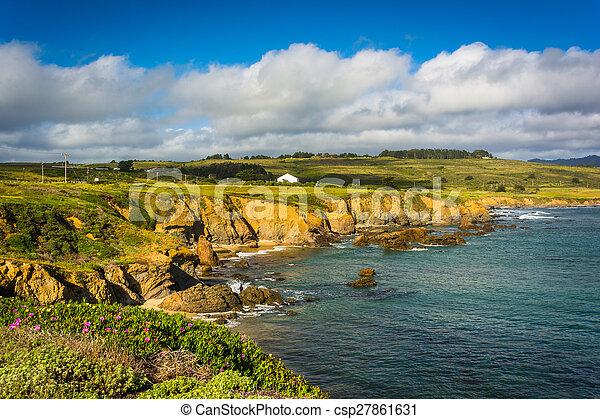 View of the Pacific Coast in Pescadero, California. - csp27861631