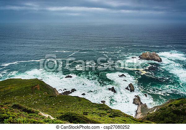View of the Pacific Ocean in Big Sur, California. - csp27080252