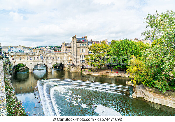 View of the Pulteney Bridge River Avon in Bath, England - csp74471692