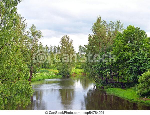 View of the river Slavyanka at summer. - csp54764221
