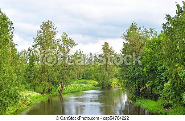 View of the river Slavyanka at summer. - csp54764222