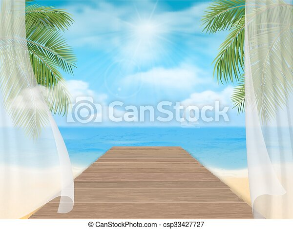 View of the sea beach and the wooden jetty - csp33427727