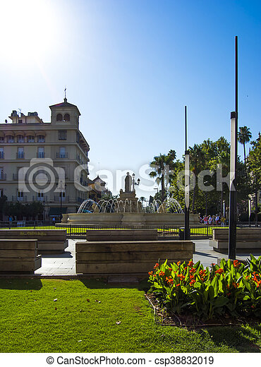 View of the Square called Puerta de Jerez with the monument to the goddess Cybele in Seville, Spain - csp38832019