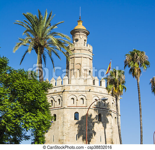 View of the Torre del Oro in Seville, Spain - csp38832016