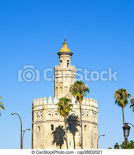 View of the Torre del Oro in Seville, Spain - csp38832021