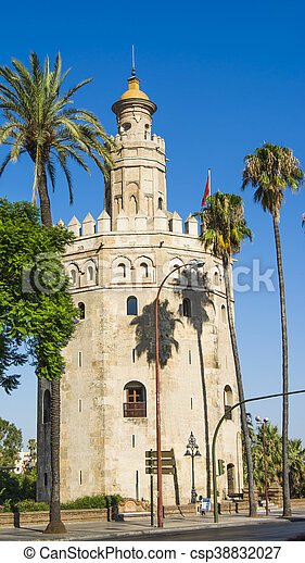 View of the Torre del Oro in Seville, Spain - csp38832027