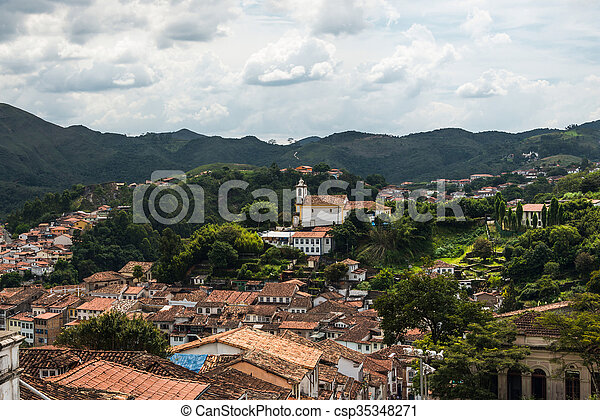 View of the unesco world heritage city of Ouro Preto in Minas Gerais Brazil - csp35348271