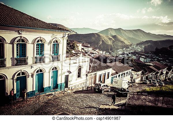 View of the unesco world heritage city of Ouro Preto in Minas Gerais Brazil  - csp14901987