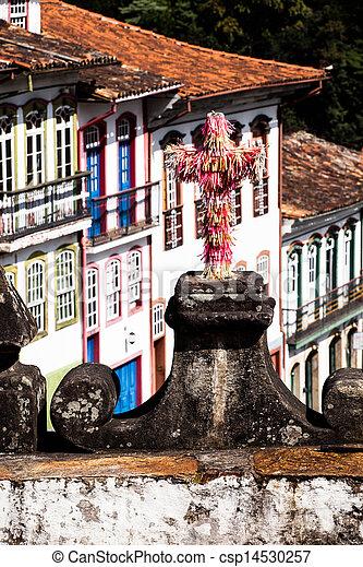 View of the unesco world heritage city of Ouro Preto in Minas Gerais Brazil  - csp14530257