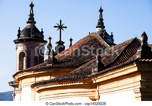 View of the unesco world heritage city of Ouro Preto in Minas Gerais Brazil  - csp14529228