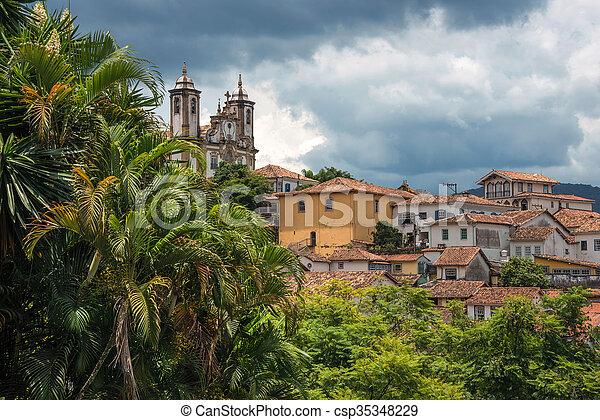 View of the unesco world heritage city of Ouro Preto in Minas Gerais Brazil - csp35348229
