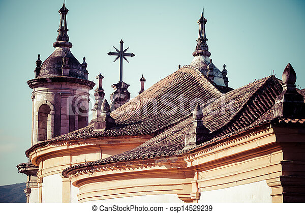 View of the unesco world heritage city of Ouro Preto in Minas Gerais Brazil  - csp14529239