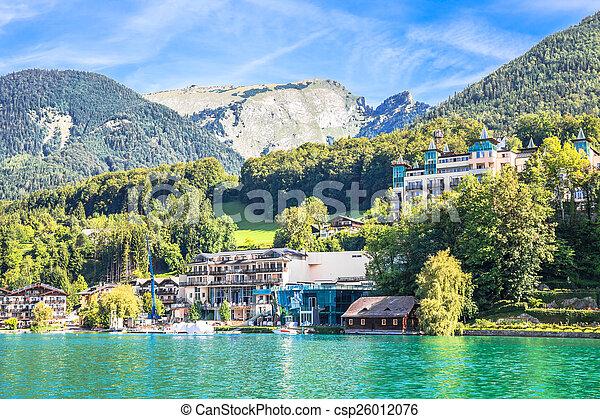 View of the village at Wolfgangsee Lake - csp26012076