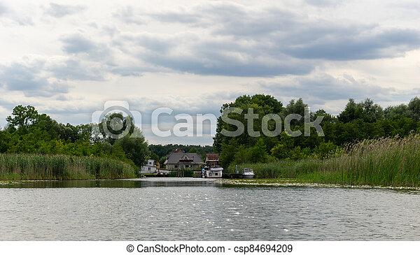 view of the Wesenberg marina on Lake Woblitz - csp84694209