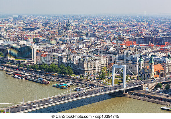 View of the white bridge and Danube in Budapest from height of bird's flight - csp10394745