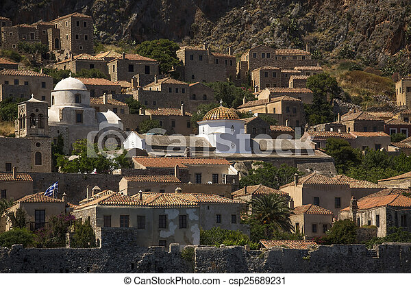 View of traditional style stone houses on Greek island Monemvasia. - csp25689231