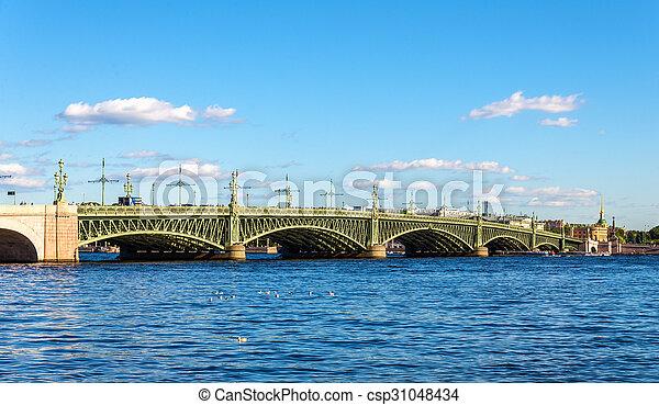 View of Trinity Bridge in Saint Petersburg - Russia - csp31048434