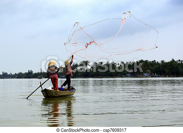 View of two fishermen in action - csp7609317