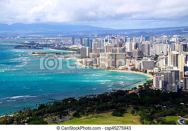 View of Waikiki beach and Honolulu skyline from Diamond Head - csp45275943