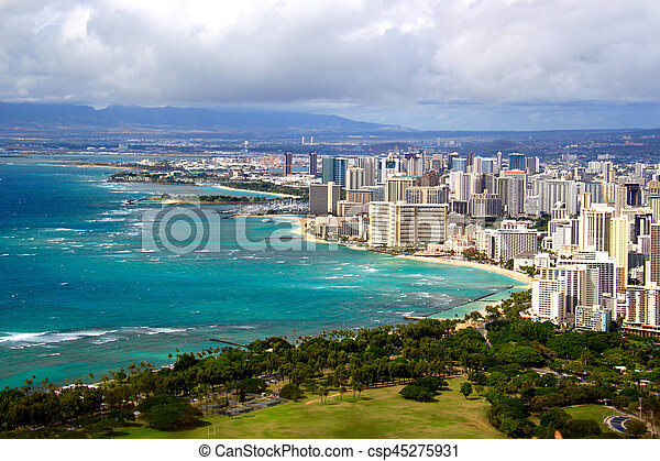 View of Waikiki beach and Honolulu skyline from Diamond Head - csp45275931