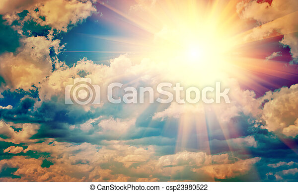 view on beautiful sun in blue cloudy sky instagram stile instagr - csp23980522