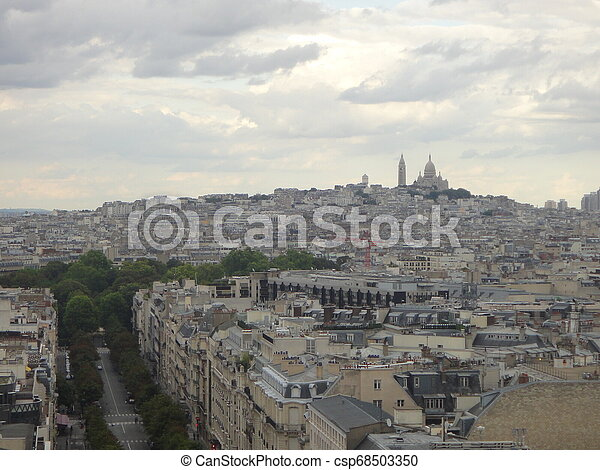 View on Paris from Arc de Triomphe. Avenue Champs elysees in front. - csp68503350