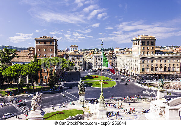 View on Piazza Venezia from the Vittoriano in Rome - csp61256844