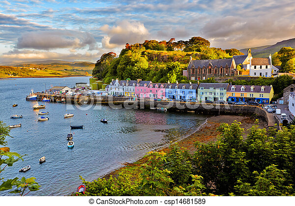 view on Portree, Isle of Skye, Scotland - csp14681589