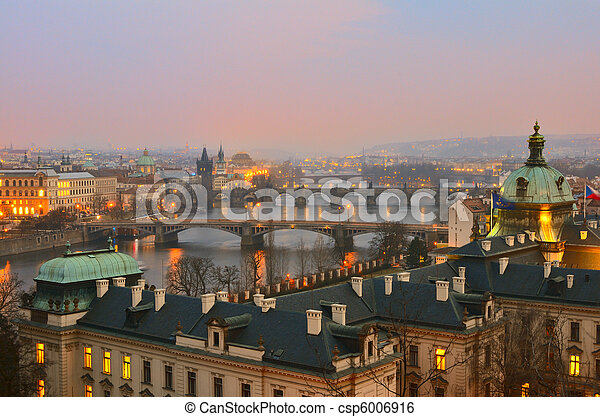 View on Prague bridges at sunset - csp6006916