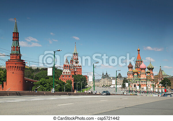 view on saint Basil cathedral and Kremlin in Moscow, Russia summer day - csp5721442