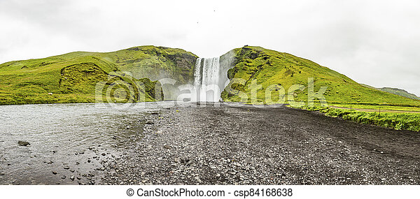 View on Skogafoss waterfall in southern Iceland - csp84168638