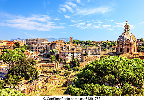 View on the Colosseum, the Santi Luca e Martina and the Imperial Fora from Vittoriano in Rome - csp61391767