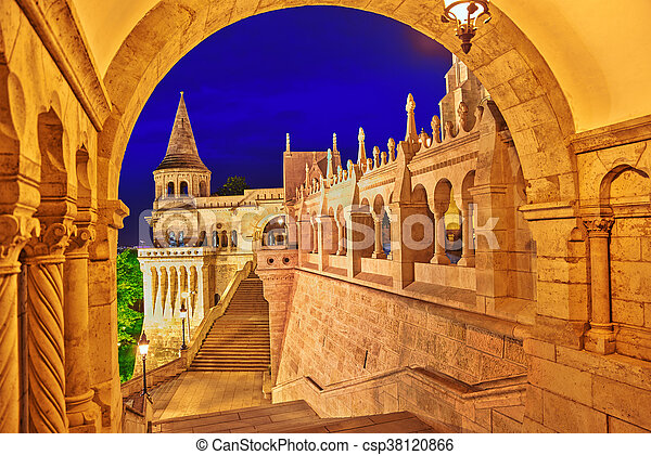 View on the Old Fisherman Bastion in Budapest. Night time. - csp38120866