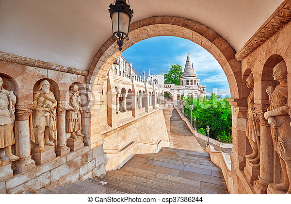 View on the Old Fisherman Bastion in Budapest. Arch Gallery. - csp37386244