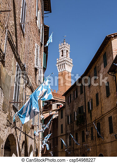 View on Torre del Mangia in Siena, Italy - csp54988227