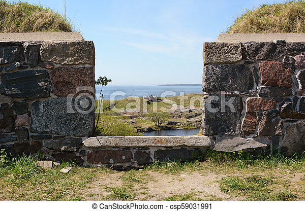 View out to sea from Suomenlinna sea fortress - csp59031991