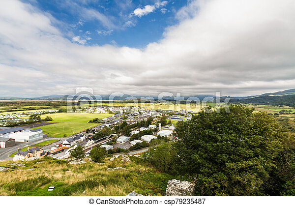 View out to sea, Harlech North Wales. - csp79235487